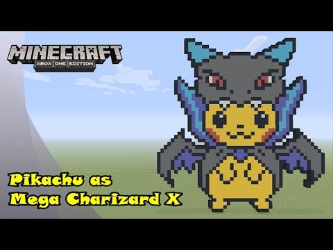 Minecraft: Pixel Art Tutorial And Showcase: Pikachu In A Mega Charizard X Costume (Halloween)