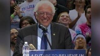 Portland Crowd Goes Wild For Bird On Bernie Sanders' Podium