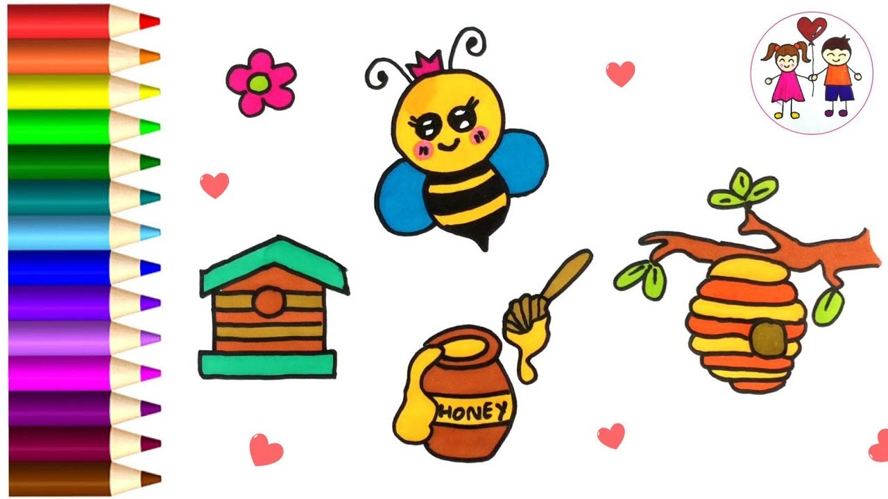 Coloring Page Bee, Honey, Beehive For Kids | How To Draw Cute Bee , Learn  Video For Baby.