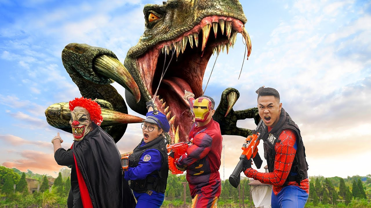 MKTD Nerf Wars : Squad Superheores SEAL X Nerf Battle Gun Fight Criminal Group Defeat Dinosaurs