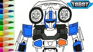 Belajar menggambar tobot c robot transformers carbot - mewarnai mainan mobil polisi untuk anak - 또봇