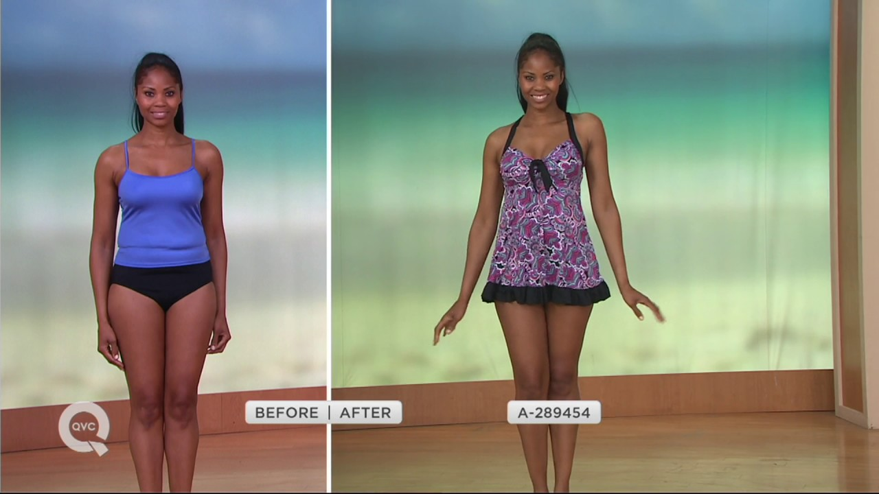 maxresdefault fit 4 u dresskini ruffle swimsuit with tie front and brief on qvc,Fit 4 U Swimwear Qvc