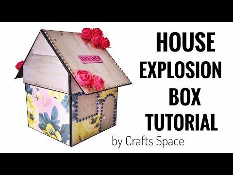 House Explosion Box Tutorial | Heart Explosion Box Tutorial | Explosion Box Ideas | By Crafts Space