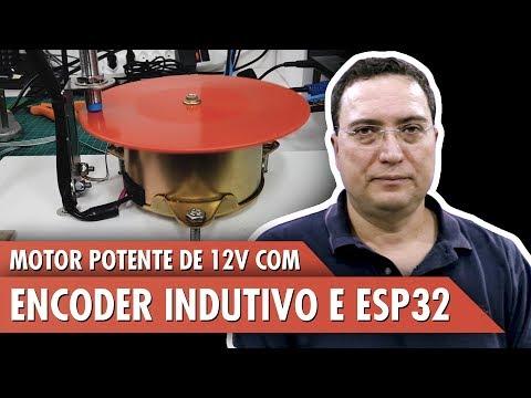 Motor potente de 12V com encoder indutivo e ESP32