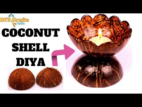 DIY | Coconut Shell Diya | Coconut Shell Art & Craft | DIYCrafts India #53