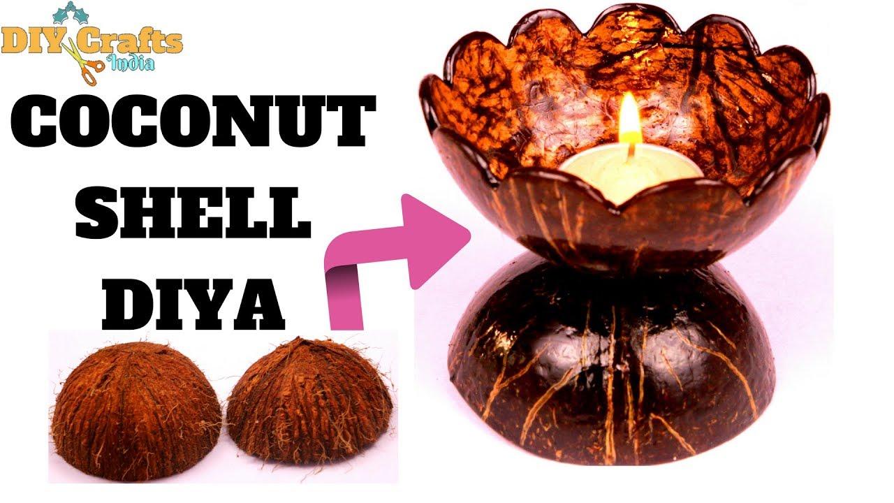 Diy Coconut Shell Diya Coconut Shell Art Craft Diycrafts