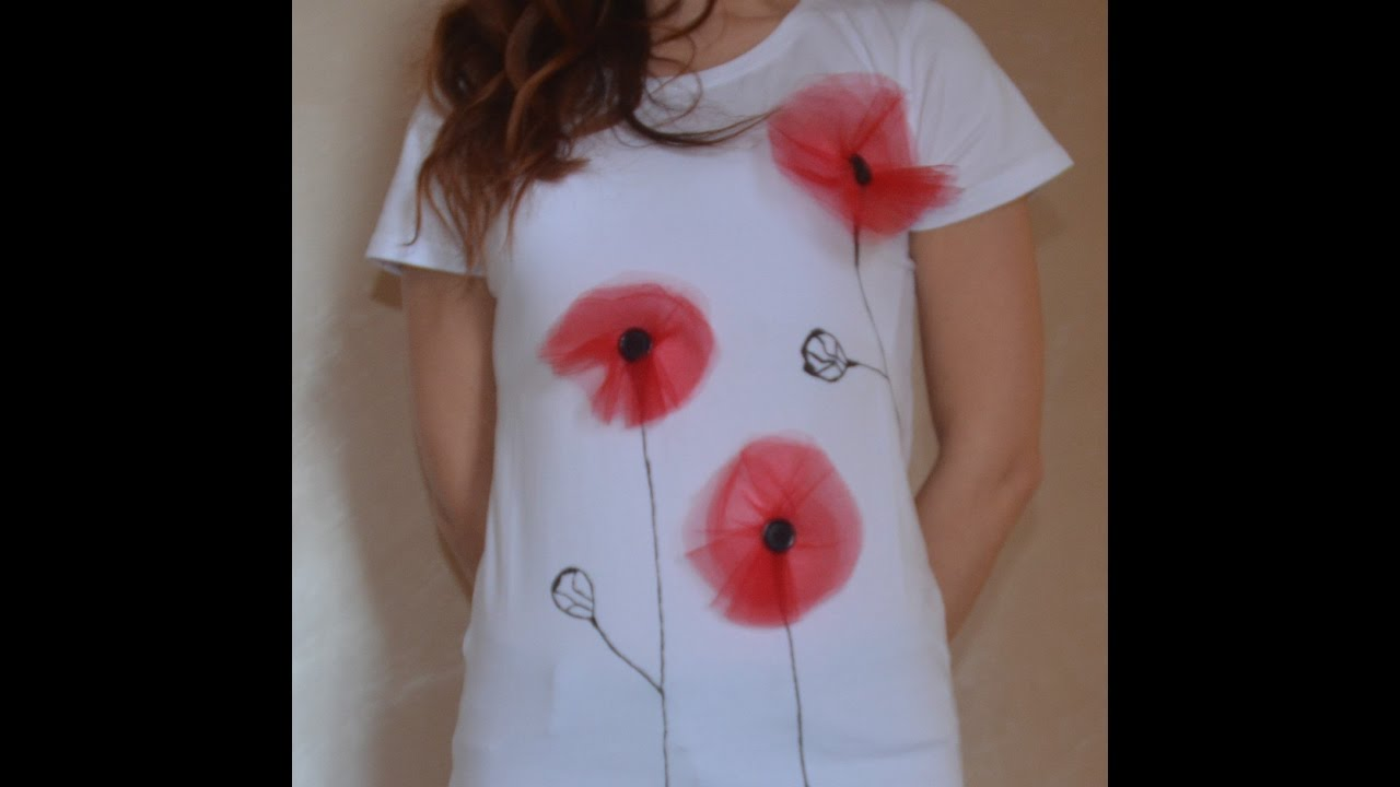 T shirt diy tutorial t shirt papaveri fai da te youtube for Pressa fai da te