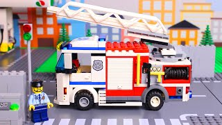 lego-wrong-police-cars-and-trucks,-concrete-mixer-truck,-fire-truck,-brick-building-video-for-kids