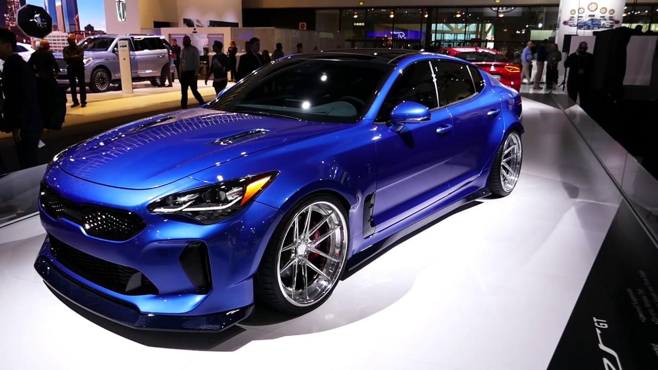 West Coast Kia >> New 2018 Kia Stinger GT - Bright Blue Paint & Massive Custom Wheels - 2017 LA Auto Show - YouTube