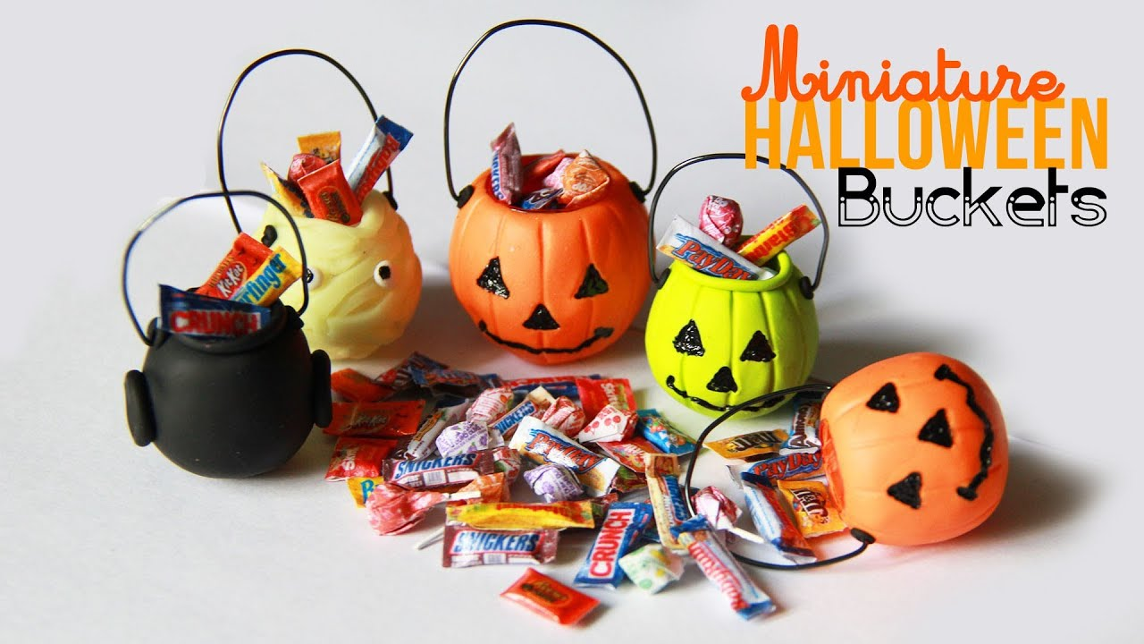 halloween bucket charms - miniature candy with polymer clay - youtube