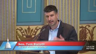 Sen. Barrett speaks to the Senate on Owosso barber