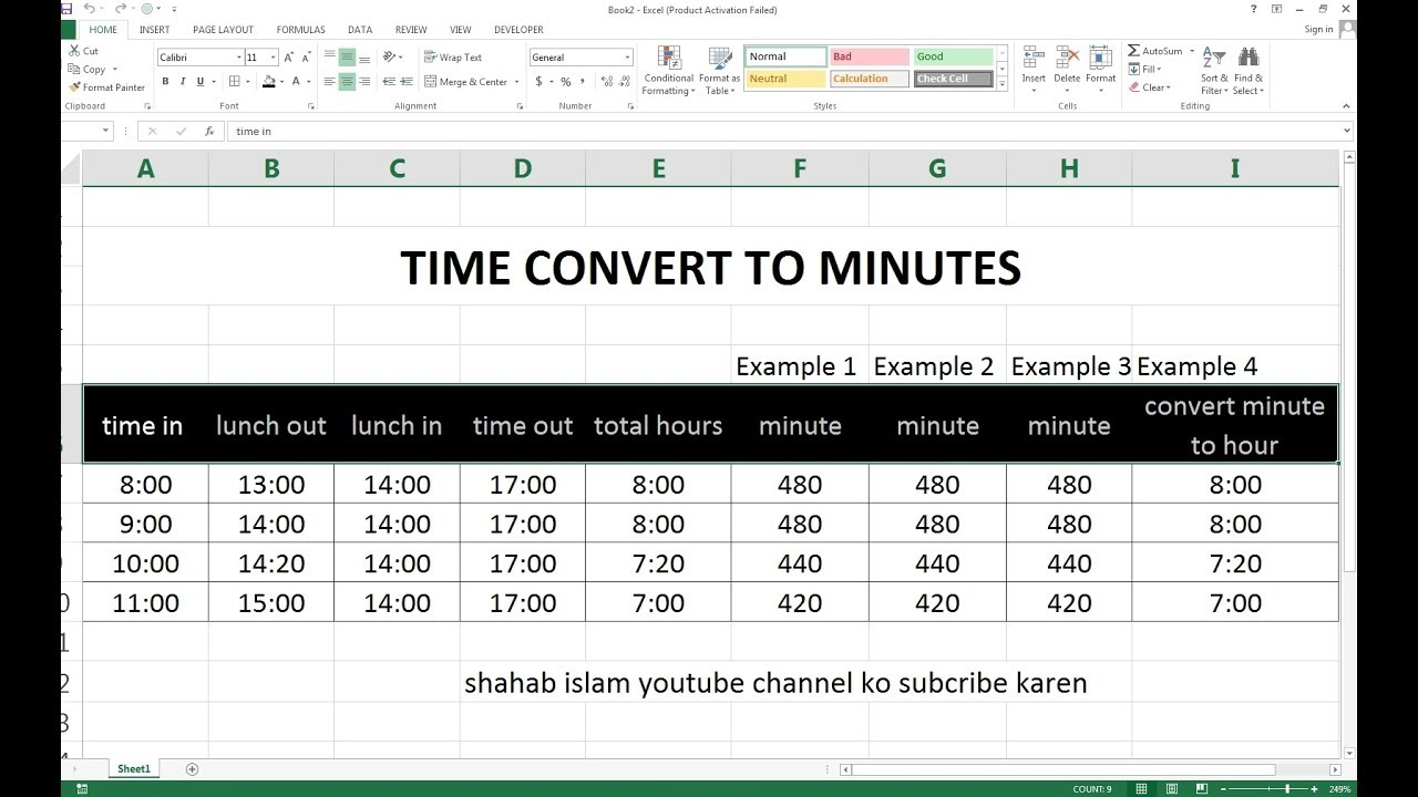 149 How To Make Time Convert Minute Sheet In Excel Hindi