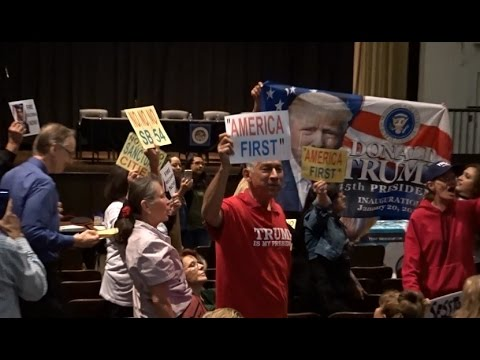 TRUMP SUPPORTERS ERUPT INTO PROTEST BEFORE CA ATTORNEY GENERAL XAVIER BECERRA TOWNHALL