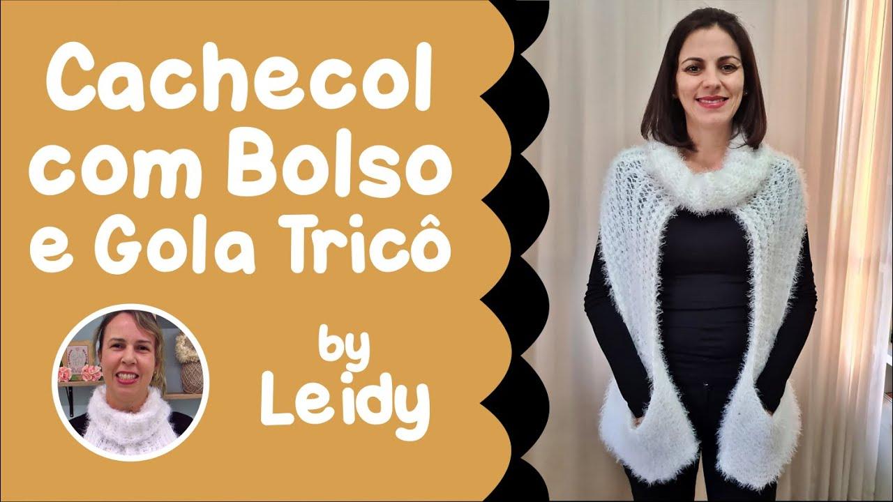 Cachecol com Bolso e Gola Tricô por Leidy - Loja Tear