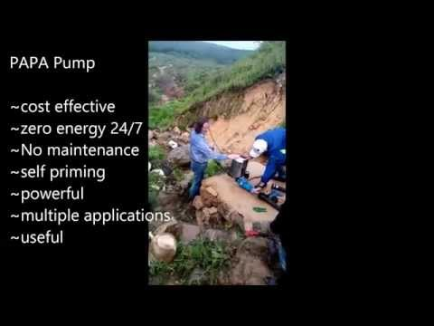 Papa Zero Energy Ram Pump at Malaysian Plantation. Free water