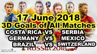 Goals in 3D Costa Rica VS Serbia, Germany VS Mexico, Brazil VS Switzerland Highlights 17 June 2018