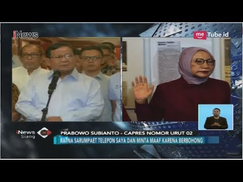 Prabowo Subianto Minta Maaf soal Kebohongan Ratna Sarumpaet - iNews Siang 04/10