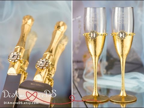 royal-gold-wedding-set:-champagne-glasses-&-set-for-cake-for-bride-and-groom