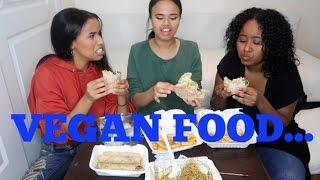 NON-VEGANS TRY VEGAN FOOD MUKBANG   PROM & INSTAGRAM GIRL CHAT