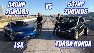 **EPIC RACE Battle** TURBO Honda K-Swap SmartCar Vs V8 LS3 Miata! Import Tuner Vs Domestic Tuner!