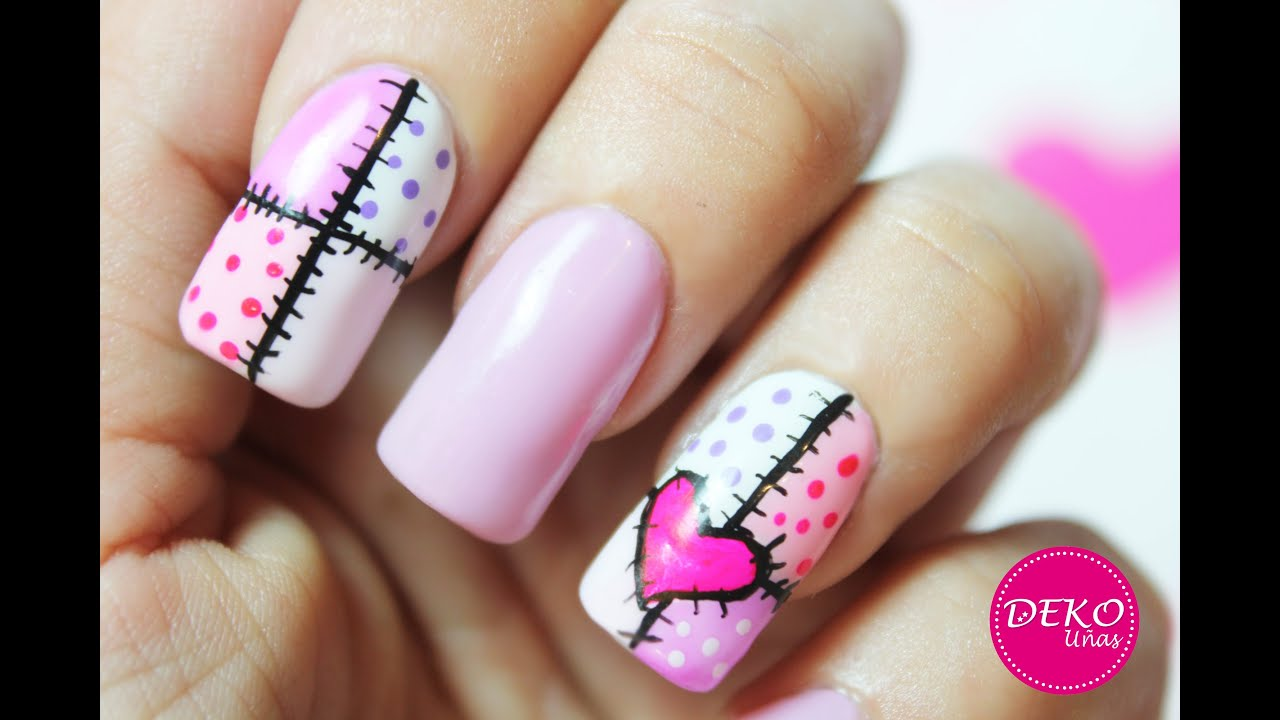 Decoracion de u as corazon heart nail art tutorial youtube for Decoracion unas