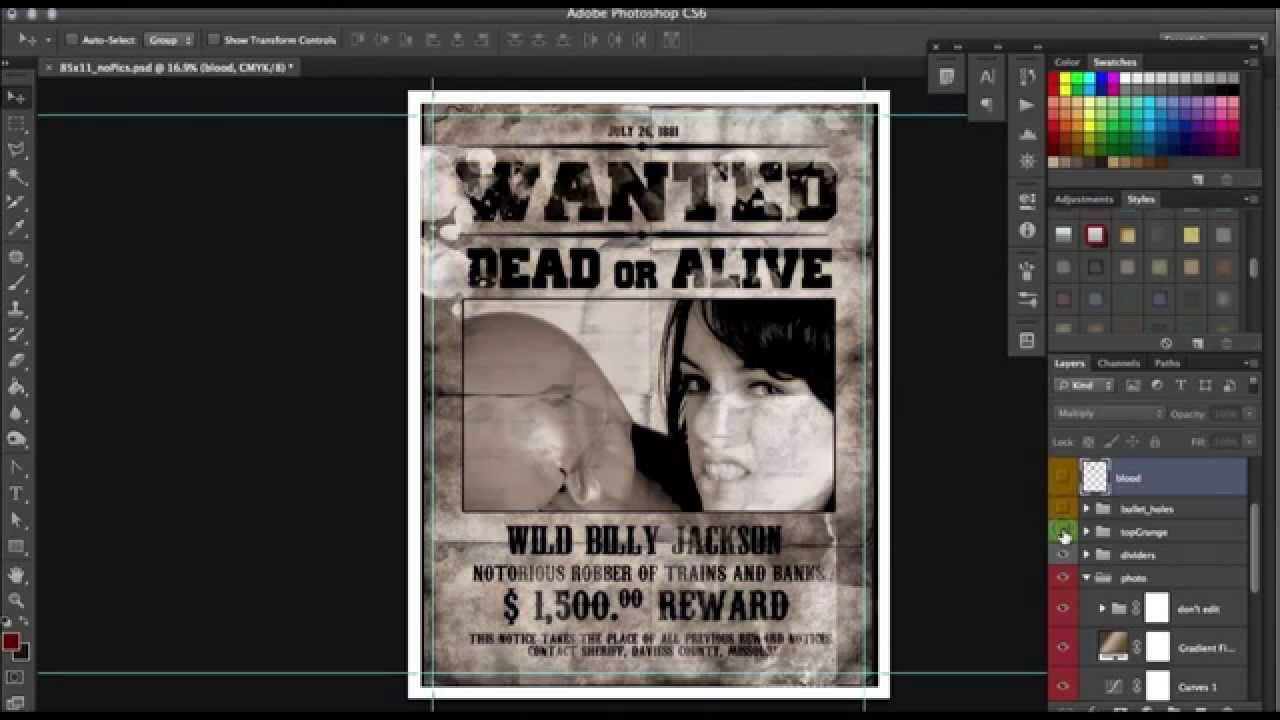 How To Design Old Western Wanted Poster In Photoshop   Tutorial By Scarab13    YouTube  Free Wanted Poster Template Download