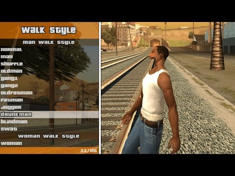 20 Different Walking Animations In GTA San Andreas (ALL STYLES)