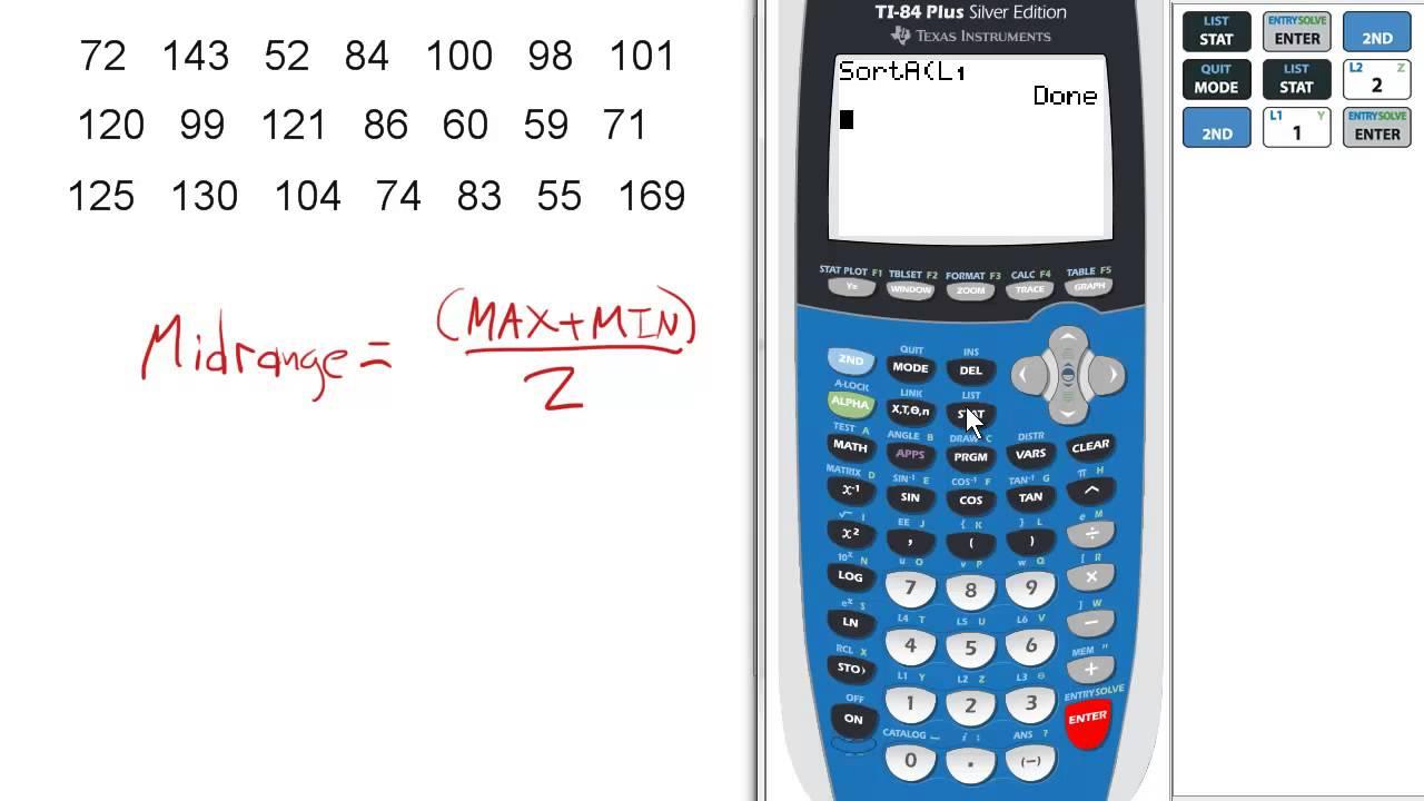 Midrange Of Given Data (midterm #11) Ti 84 Calculator