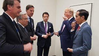 Jokowi Diacungkan Jempol dan Disodori Permen oleh Presiden Donald Trump Saat Hadiri G 20 di Jepang