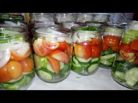 Как закрутить салат из огурцов и помидоров на зиму