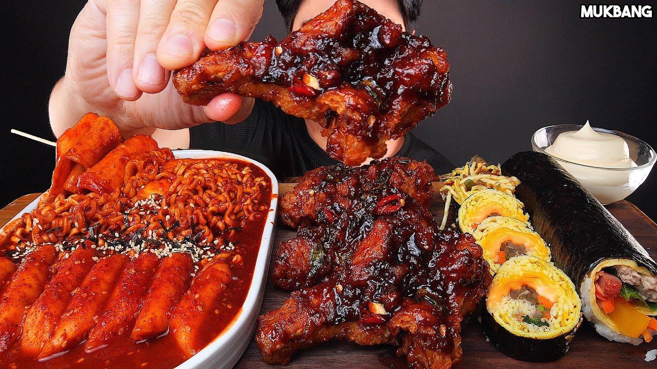ASMR MUKBANG | FRIED CHICKEN 🍗 SPICY FIRE NOODLES TTEOKBOKKI & GIMBAP EATING 양념치킨 떡볶이 김밥 소스 퐁당! 먹방