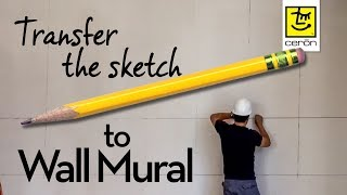 How to Transfer Sketch to Wall Mural  Making the grid for a mural easily