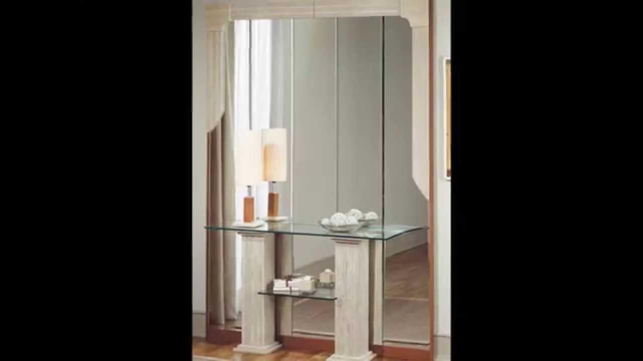Muebles recibidores con espejo youtube for Espejos de pared madera