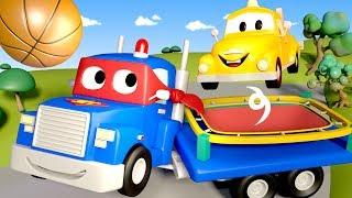 Carl el Super Camión es un TRAMPOLIN en Auto City   Dibujos animados para niños