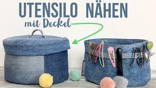 rundes Utensilo mit Deckel nähen, DIY Anleitung