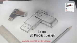 3D Pendrive Drawing | Product Design | Isometric 3D | Umang 3D Art