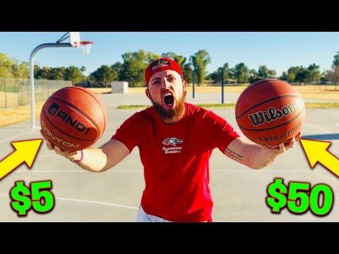 $5 Basketball Vs. $50 Basketball! IRL Basketball Challenge