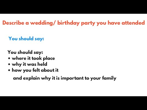 Describe a wedding party you have attended | IELTS Speaking Part 2