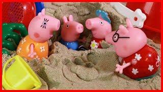 粉紅豬小妹玩太空沙的玩具兒童故事 北美玩具