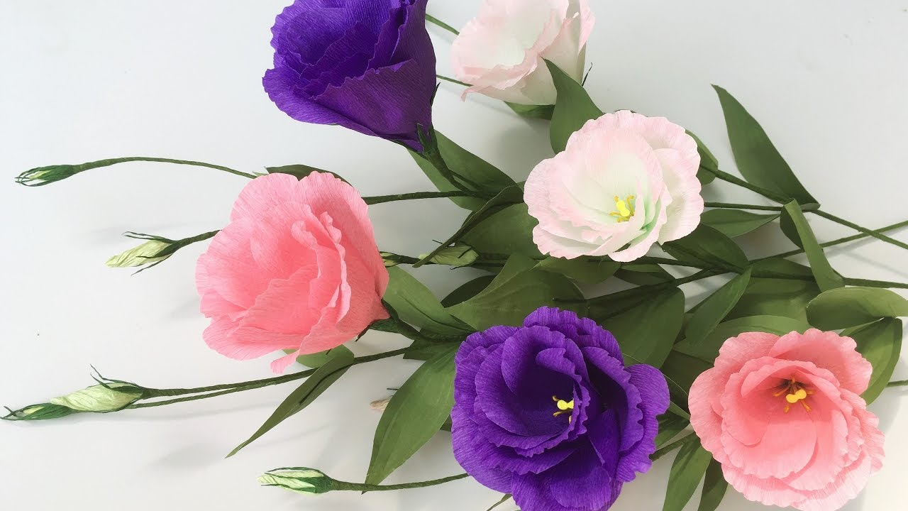 Abc tv how to make lisianthus paper flowers from crepe for Lisianthus art floral