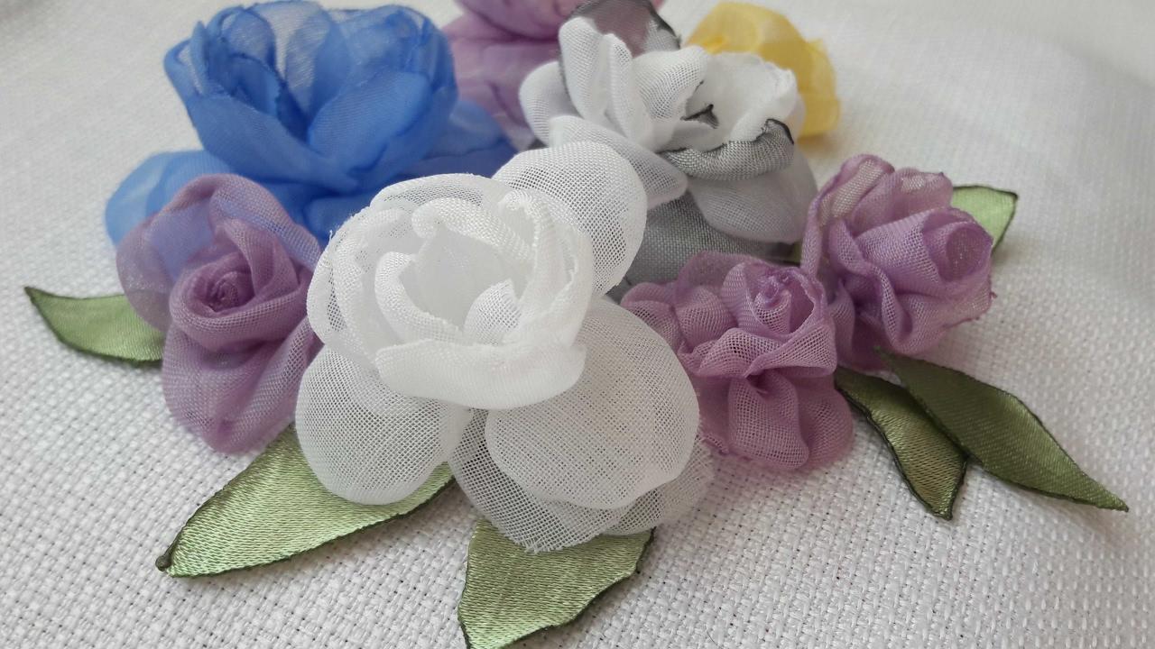 Как сделать цветы из тюли своими руками фото 736