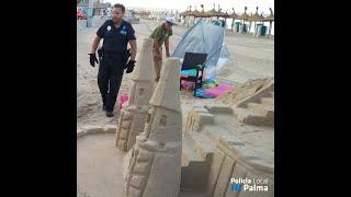 Retiran castillos de arena en Playa de Palma por riesgo higiénico y sanitario