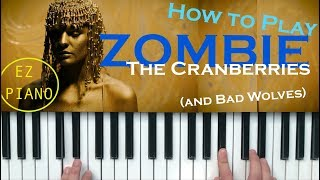 Zombie (The Cranberries/ Bad Wolves) Piano Tutorial EASY