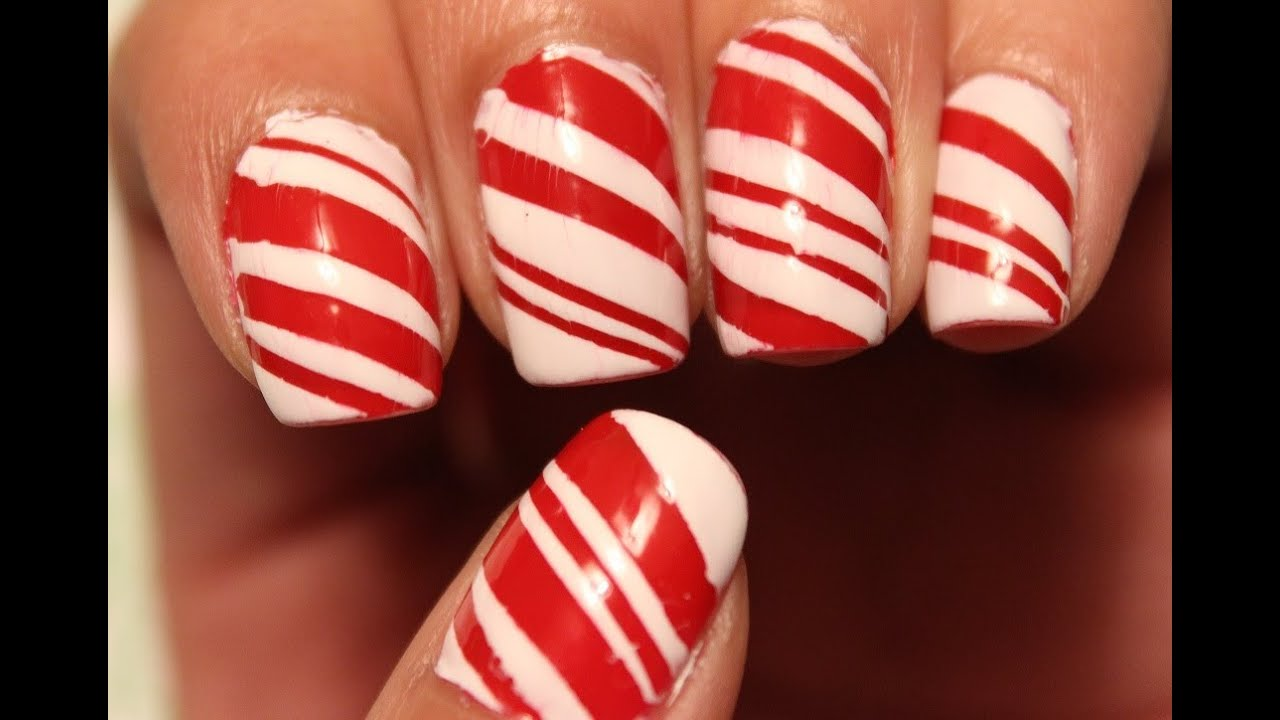 Candy cane nails dee2102 youtube prinsesfo Image collections