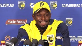 Usain Bolt Full Press Conference After Making Football Debut For Central Coast Mariners