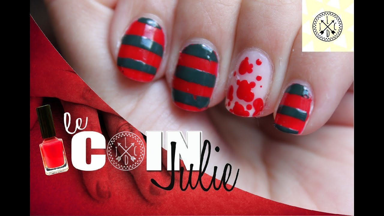 Nail art Freddy Krueger - LeCoindeJulie - YouTube