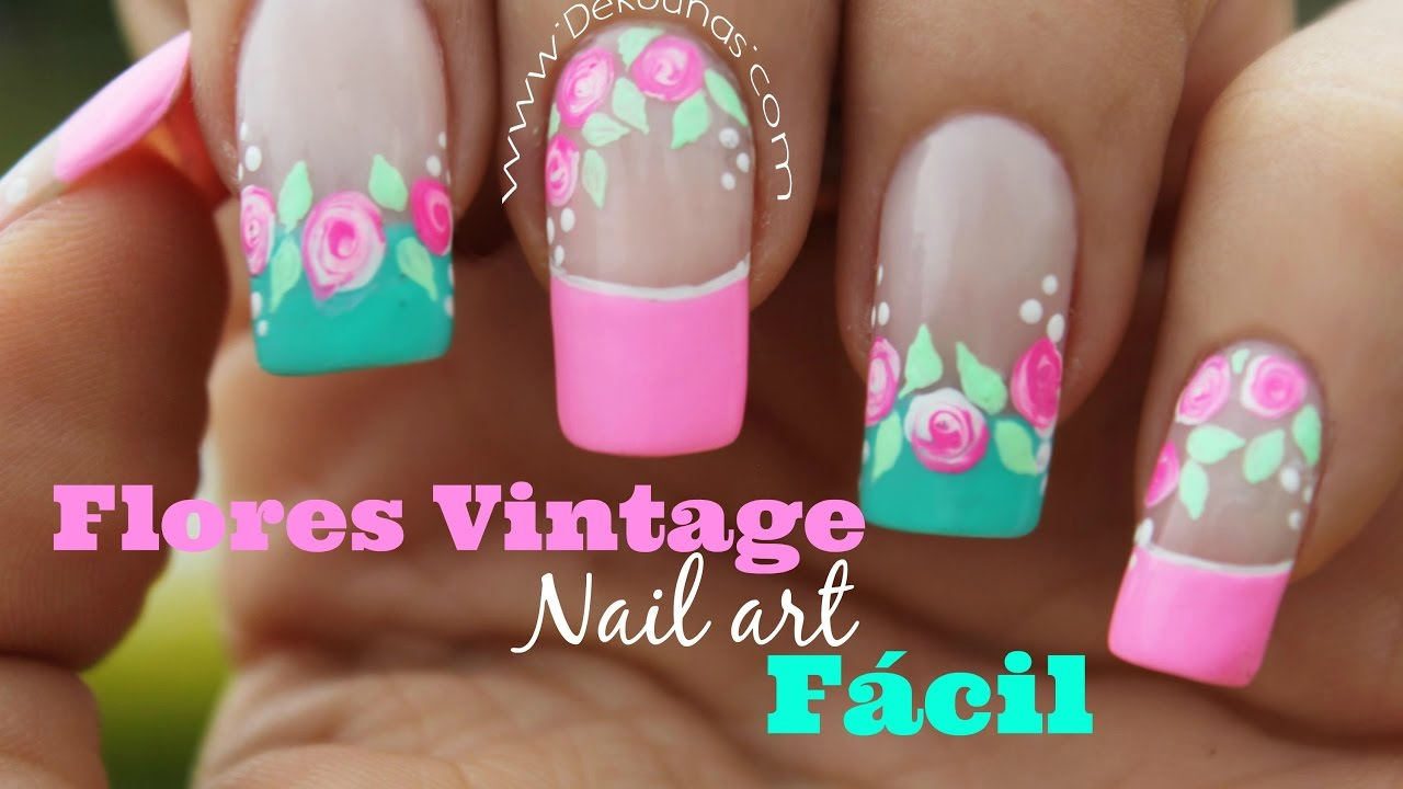 Decoracion De Uñas Facil Rosas Vintages Easy Vintage Nail Art