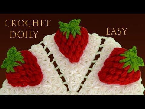 Centro de mesa de fresas 3D con hojas tejido a Crochet en punto jazmín paso a paso