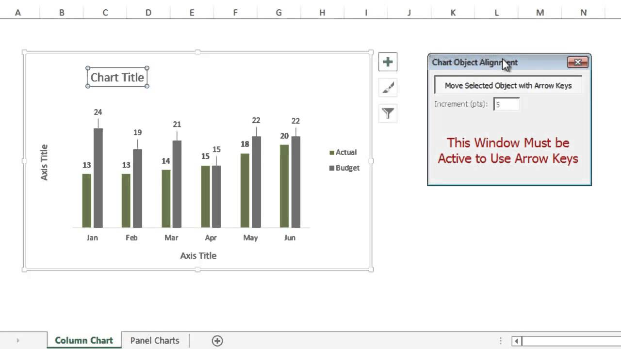 Align chart titles labels and legends with arrow keys in excel youtube also rh