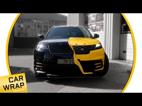 Black Urban Range Rover Velar wrapped Gloss Dark Yellow